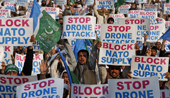 A protest to condemn U.S. drone attacks in Pakistan