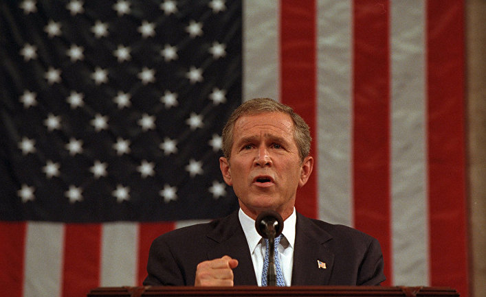President George W. Bush delivers an address