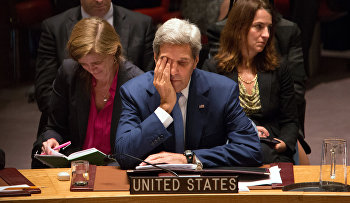 U.S. Secretary of State John Kerry attends the United Nations Security Council, Wednesday, Sept. 30, 2015, at the U.N. headquarters.