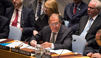 Russia's Foreign Minister Sergey Lavrov addresses the United Nations Security Council at the United Nations headquarters Wednesday, Sept. 30, 2015.