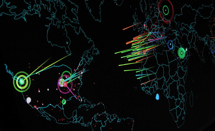 The map shows in realtime attacks that happen on the Norse honeypots.