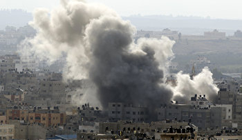 Smoke rises after an Israeli missile strike in Gaza City