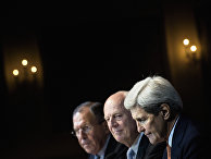 Russian Foreign Minister Sergei Lavrov, UN Special Envoy for Syria Staffan de Mistura and Secretary of State John Kerry participate in a news conference in Vienna, Austria