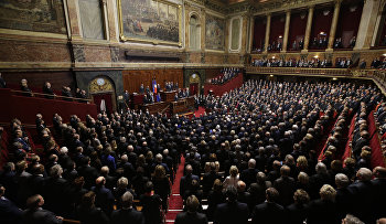 French President Francois Hollande is addressing parliament about France's response to the Paris attacks, in a rare speech to lawmakers gathered in the majestic congress room of the Palace of Versailles