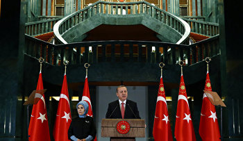 Turkish President Recep Tayyip Erdogan speaks during a meeting at the presidential palace in Ankara, Turkey