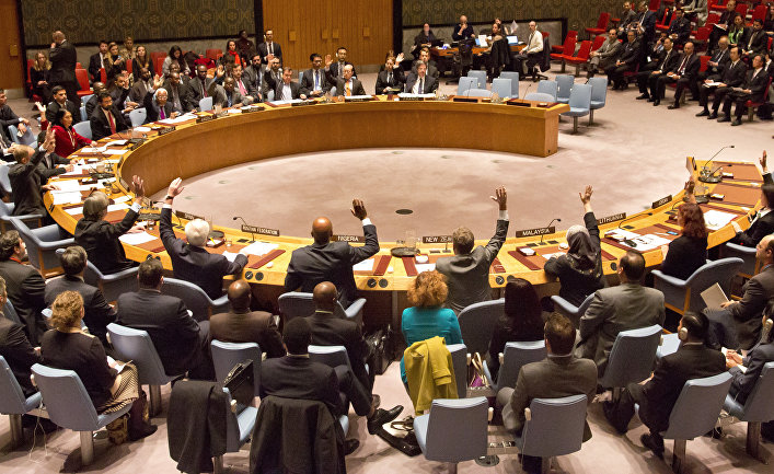 U.N. Security Council members vote on a French-sponsored counter terrorism resolution aimed at Islamic extremist