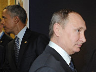Russian President Vladimir Putin, right, and U.S. President Barack Obama, rear, attend the COP21 UN Conference on Climate Change in Paris, France