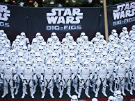 Over 100 JAKKS BIG-FIGS Stormtrooper action figures are seen as a part of an installation at The Americana at Brand for the opening of Star Wars: The Force Awakens, Thursday, Dec. 17, 2015, in Glendale, Calif