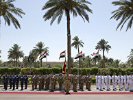 An honor guard is positioned for the arrival of U.S. Defense Secretary Ash Carter to the Ministry of Defense in Baghdad, Iraq, Thursday, July 23, 2015